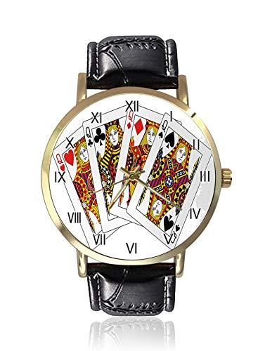 Queens Poker-Set mit Gesichtern, Herzen und Piken, Glücksspielsymbole, Spielkarten, Herrenarmbanduhren, Sportuhr für Herren