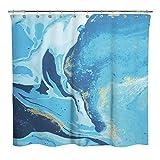 N \ A Design Natürlicher Ozeanblauer Wasserfluss Stoff Duschvorhang, abstrakter Stil Flüssigkeitsfluss Badezimmer Dekoration Gardinen, maschinenwaschbar – Blau