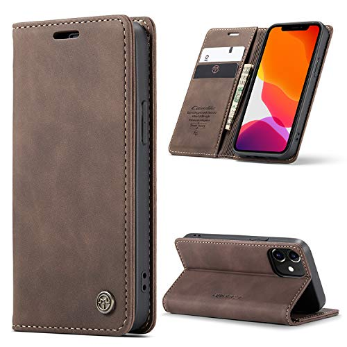 Kowauri for iPhone 12 Mini Case 5.4 inch 2020,Leather Wallet Case Classic Design with Card Slot and Magnetic Closure Flip Fold Case for iPhone 12 Mini 5.4 inch 2020 (Coffee)