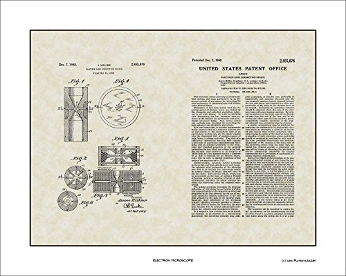 Electron Microscope Patent Art Wall Hanging | Scientist Researcher Print Gift 16x20