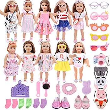 ZWSISU 32PCS Doll Clothes/Accessories Bag Shoes Glasses fit 18 Inch American Girl Doll Our Generation My Life Dolls