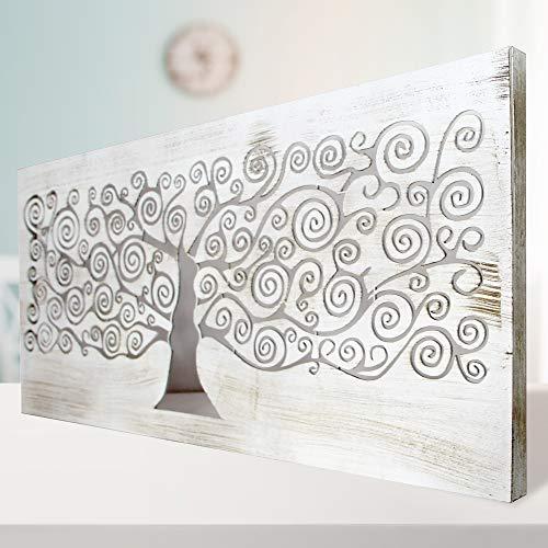Cuadro De Pared Árbol De La Vida Klimt Calado, Fabricado Artesanalmente En España, Decorado a Mano - Modelo Mosaico 150 (60X120 cm- Blanco Envejecido) -Cuadro Salón, Dormitorio, Pasillo, Baño