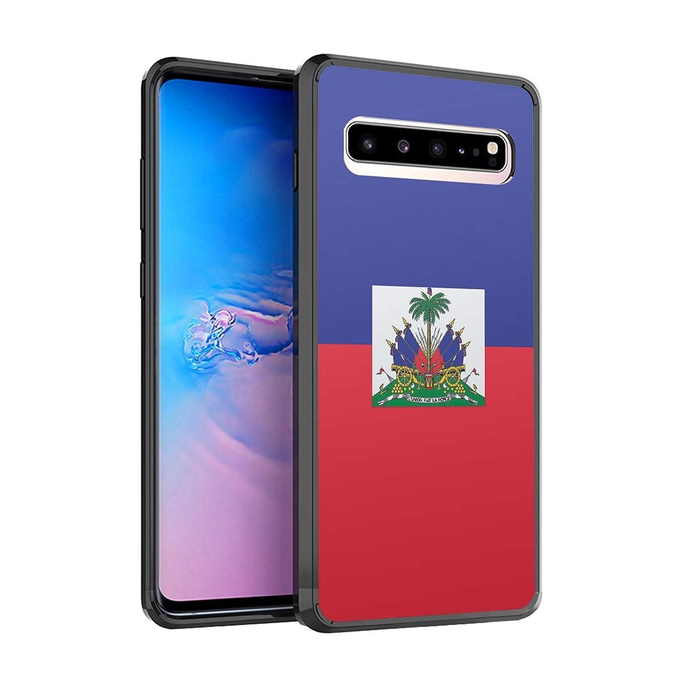 Moriko Case Compatible with Galaxy S10 5G [Drop Protection Slim Cushion Bumper Black Case] for Samsung Galaxy S 10 5G (2019) - (Haiti Flag)