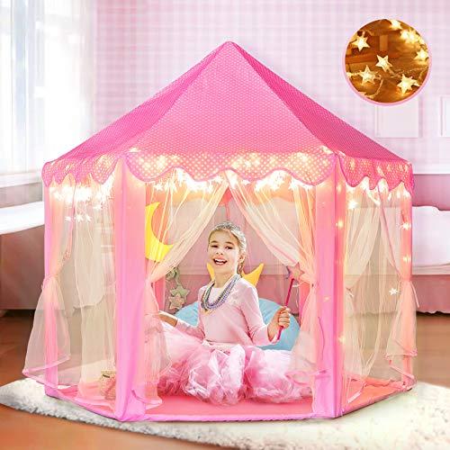 Prinzessin Zelt für Mädchen mit Tragetasche, Schloss Spielzelt für Kleinkinder, Fee Kinder Spielhaus für Indoor und Outdoor, Wunderbares Geschenk für Kinder mit Geschenkbox (Feenschloss)