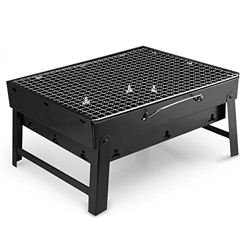 LXVY BBQ Folding Portable Charcoal Stove Camping Garden Outdoor Mini Charcoal Barbecue Grill, 35 x 27cm, Black