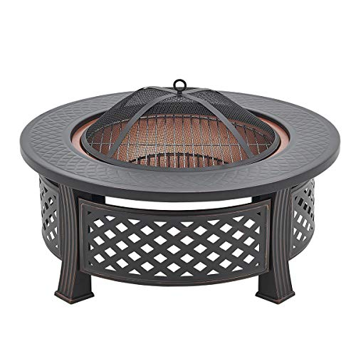Barton 32' in Fire Pit Outdoor Large Wood Burning Fire Pits Bowl BBQ Grill Firepit for Outside with...