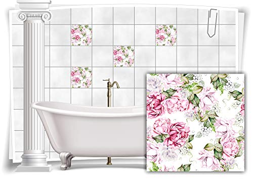 Medianlux M13m170-141035 - Adhesivo decorativo para azulejos (4 unidades, 15 x 15 cm), diseño floral