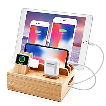 Bamboo Charging Station for Multi Device With 5 USB Charger Port Sendowtek 6 in 1 USB Charging Stand for Phone Tablet Smart Watch Holder Earbuds Dock Charger Organizer with Power Supply 5 Mixed Cables