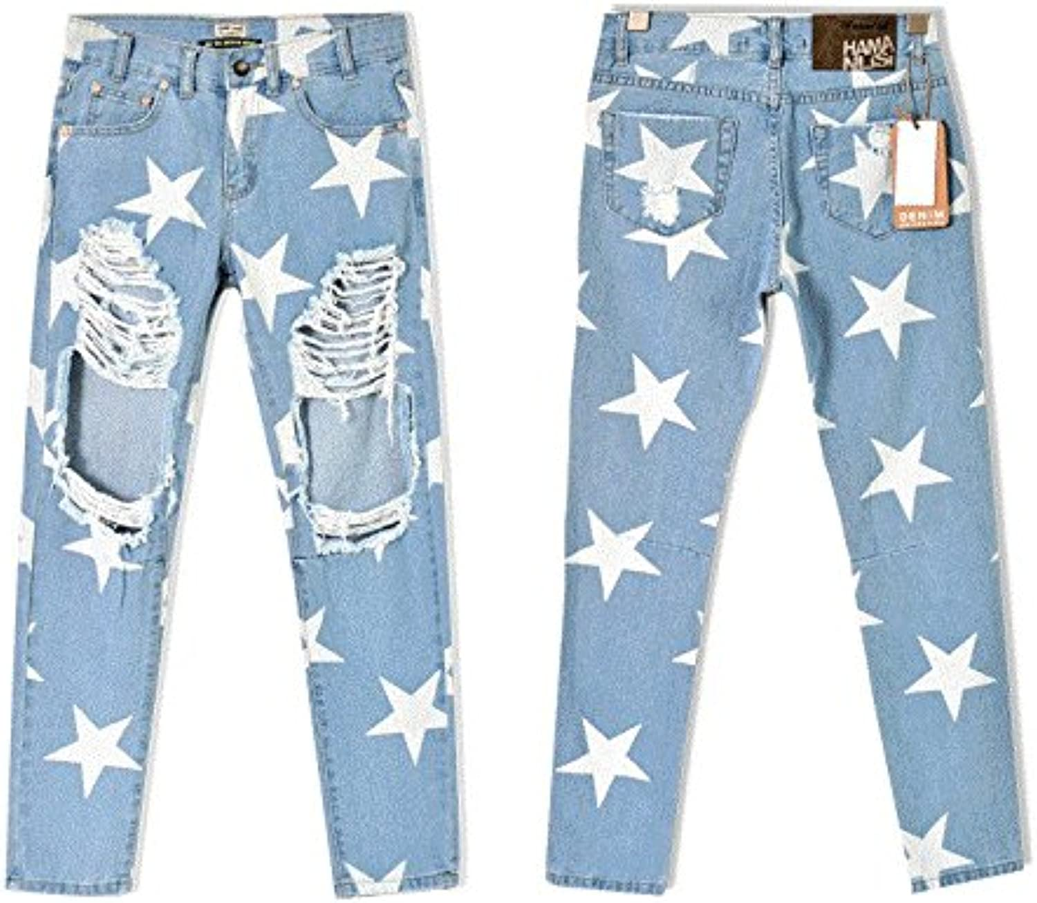 Women's new hole denim loose straight pants stars print pants BF nine pants trend hole