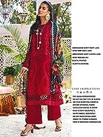 Red Indian/Pakistani 女性 Wear Embroidered Jam Satin Pant Suit Digital Printed Dupatta Muslim Hijab Style 5996