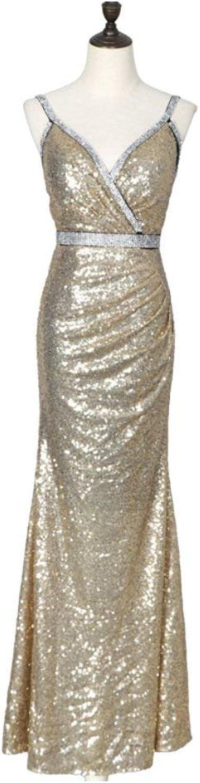 Bixiangjim Ms. Evening Dress Diamond Sequins Deep V Strap Dress Dress Fishtail Sexy Dress Female