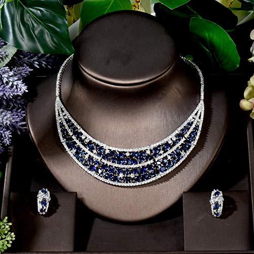 FWJSDPZ Luxury 2pcs Azul Geométrico Dubai Joyería Bridal Conjunto De Joyas De Perno Pendiente De Encanto Conjuntos De Collar CZ (Color : Blue)