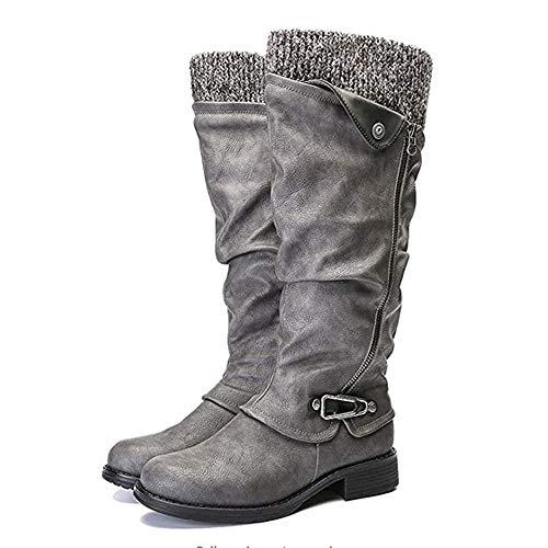 Mujeres's Cuero Botas Dedo del Dedo del Dedo del Dedo Botas Altas Tamaño Grande Casual Cremallera Lateral Caballero Botas Largas Otoño Invierno Plisado Ecuestre Zapatos-Gris 39