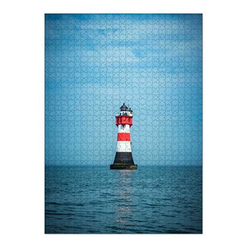 artboxONE Ravensburger-Puzzle XL (1000 Teile) Architektur Leuchtturm Roter Sand - Puzzle Leuchtturm rotersand nordsee