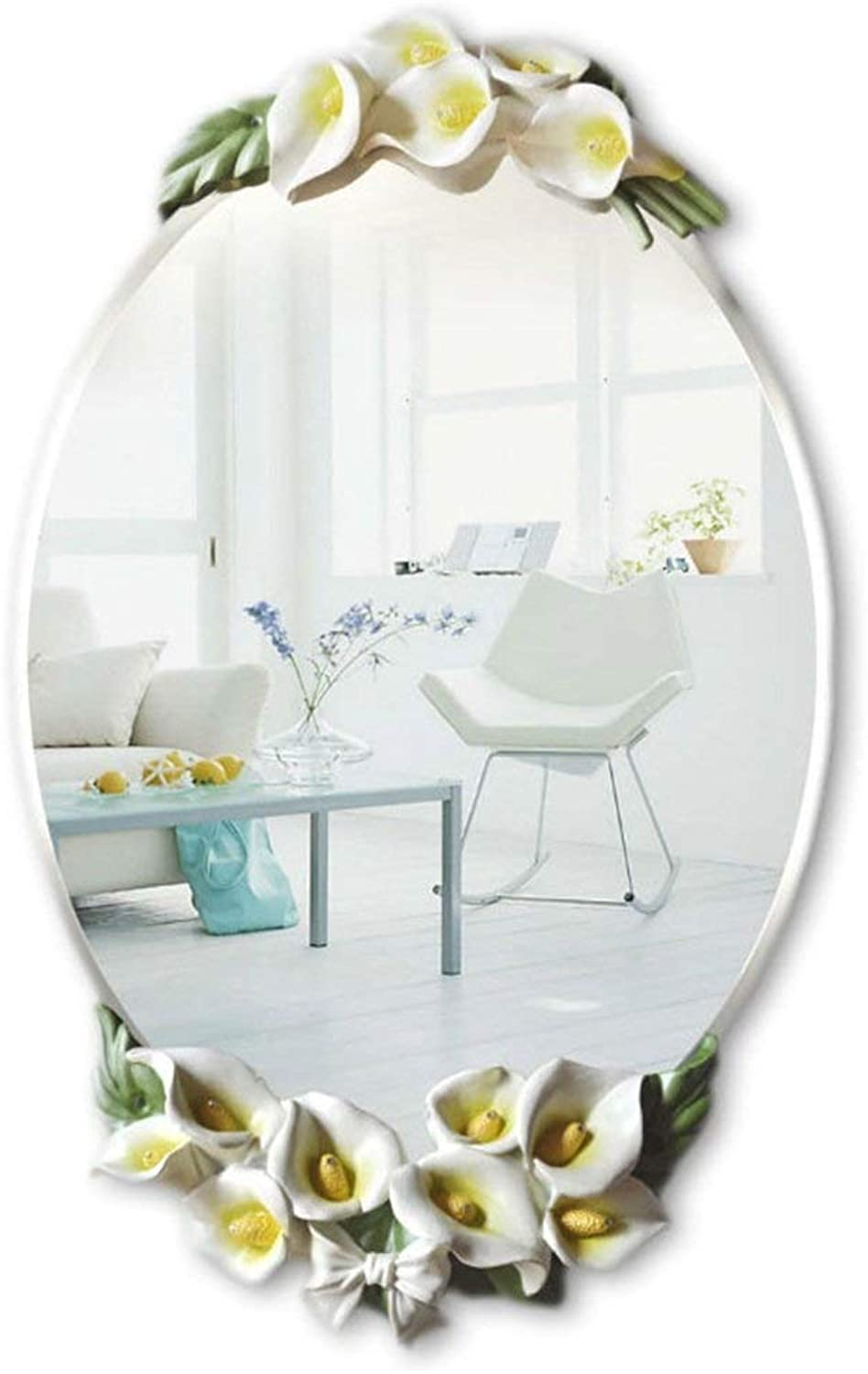 XIUXIU Mirror Wall-Mounted Flower Home Background Decorative Mirror Oval Resin Vanity Mirror (color   Yellow)