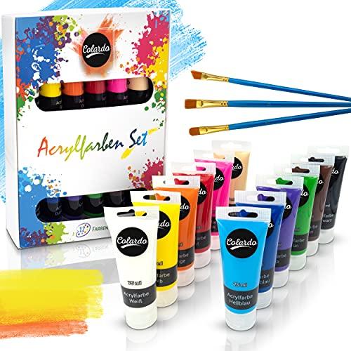 Colardo ® Acryl Farben Set [12x 75ml] Acrylfarben - Inklusive 3 Pinsel – Wasserfeste Acrylfarbe für Leinwand, Holz, Papier und Stein - Acrylfarben Set für Kinder &...
