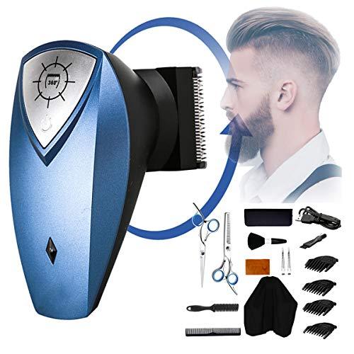 USB oplaadbare tondeuse, snoerloos hoofd scheerapparaat voor mannen 360 Roterende haartrimmer Baardscheerapparaat Haarknipset is geschikt voor volwassenen en kinderen CHC-1168, blauw