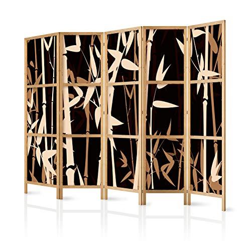 murando - Paravent XXL Bambus 225x171 cm 5-teilig einseitig eleganter Sichtschutz Raumteiler Trennwand Raumtrenner Holz Design Motiv Deko Home Office Japan p-B-0006-z-c