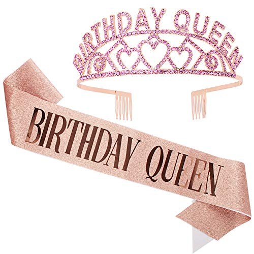Birthday Crowns for Women, Didder Birthday Queen Rhinestone Tiara & Sash Kit, Rose Gold Birthday Tiaras and Crowns for Women Birthday Girl Crown Princess Crown Glitter Birthday Sash 21st Gifts Party