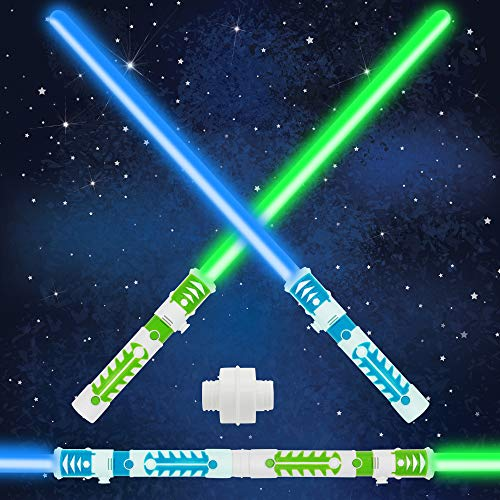 Light Up Saber 2-in-1 LED FX Dual Green&Blue Light Swords Set with Sound (Motion Sensitive) and Realistic Handle for Halloween Costume Accessories, Xmas Presents, Galaxy War Fighters and Warriors