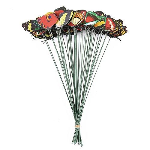 Jardin Décoration de jardin Statue de jardin à piquer Kit déco Lot de 50 Papillon 25 cm de long en plastique motif papillons