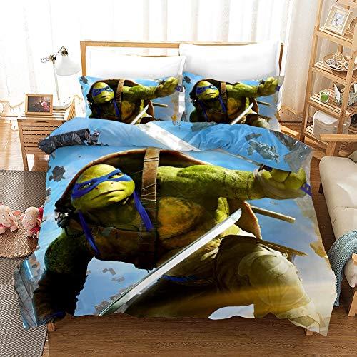 Vampsky Las tortugas ninja adolescentes y fan del animado del hogar Ropa de cama 3 piezas con cierre de cremallera, 100% microfibra de EE.UU. Carácter Anime de impresión en 3D 1 funda nórdica y almoha