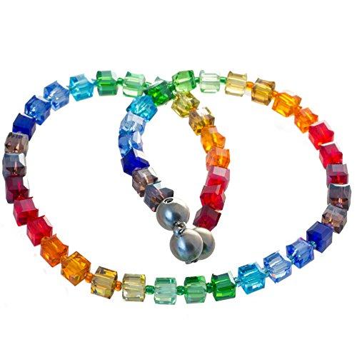 Bella Carina Creativ Glaswürfel Kette in regenbogen farben bunt (45)