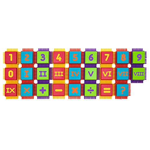 PicassoTiles PTB52 Bristle Shape Blocks 52pc Numerical Building Tiles Set Construction Learning Toy Stacking Educational Block, Creativity Beyond Imagination, Inspirational, Recreational, Educational