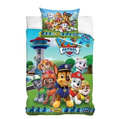 Paw Patrol Bettwäsche Bettbezug 100x135 40x60 Baumwolle · Baby Kinderbettwäsche für Mädchen und Jungen · 2 teilig · 1 Kissenbezug 40x60 + 1 Bettbezug 100x135 cm