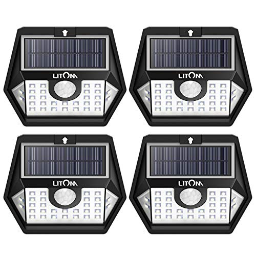 LITOM Solar Lights Outdoor Wireless LED Solar Motion Sensor Lights with Wide Angle IP65 Waterproof Security Lights for Front Door Yard Garage Deck Porch Shed Walkway Fence 4 Pack
