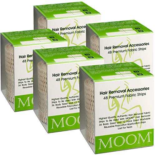 MOOM Waxing Strips for Women Polycotton, Specially Engineered for Maximum Hair Removal – Perfect for Bikini, Leg, Eyebrow, Body & Face Wax (48 Count) (5 PACK)