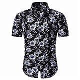 Playa Shirt Hombre Verano Moderno Cuello V Hombre Manga Corta Botón Placket Hawaiana Camisa Personalidad Estampado Causales Vacaciones Hombre Henley Camisa I-C38 M