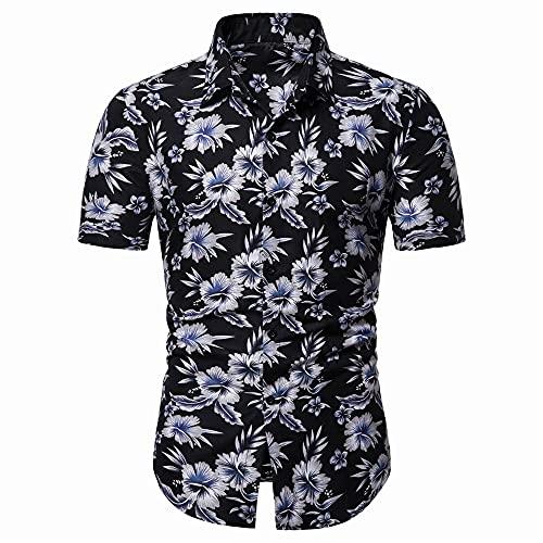 Playa Shirt Hombres Verano Slim Fit Hombre Modernos Hawaiana Camisa Personalidad Estampado Camisa Cuello V Botón Placket Camiseta Causal Vacaciones Hombre Manga Corta I-C38 XL