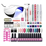 Gel Nail Polish Starter Kit 36W LED Lamp UV Dryer 12 Colors Gel