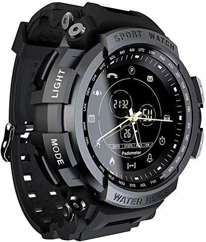 Lloow Smart Herrenuhr, intelligente wasserdichte militärische Taktische Uhr mit Informationserinnerungs- und Kalorien-Schrittzählerfunktion, die Smartwatches 2021 unterstützt,Schwarz