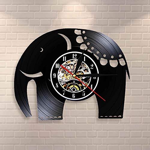 Regalos para Hombres Decoración para el hogar Elefante Indio Reloj de Pared de Dibujos Animados Vintage Safari Animal Disco de Vinilo Reloj de Pared