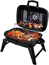 CUSIMAX Charcoal Grill, Portable Grill BBQ and Smoker with Lid Folding Tabletop Grills, for Camping Patio Backyard and Anywhere Outdoor Cooking, 18-inch, Black