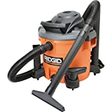 Ridgid 12 Gallon Wet/Dry Vacuum High-Performance 5 HP, 10 Amp Motor - Converts Into A Blower To Clear Debris - Patented Scroll Noise Reduction For Quiet Performance - 15' Power Cord 7' Locking Hose With Attachments - Onboard Storage Pleated Paper Filter Included (Shop Tool)
