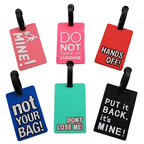 Mziart Funny Luggage Tags Set of 6 Colorful Unique Travel Baggage Bag Tags Suitcase Identify Labels for Women Men