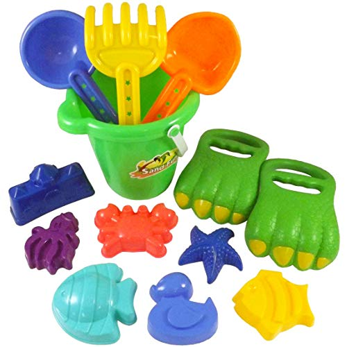 Liberty Imports Dinosaur Sand Digger Scoop Claw Beach Toy Set  13 Piece with Bucket Shovels Rakes Molds Assorted Colors
