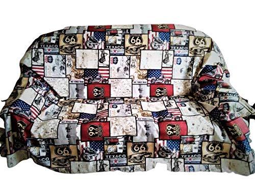 Generischer Stoff Route 66 Stoff aus Baumwolle Meterware 280 cm x 280 cm für Sofas Grandfoulard Tischüberwurf Stühle Kissen Route 66 Cameratta Bett