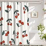 Duschvorhang Cherry Shower Curtain Bathroom Shower Curtain, Heart-Shaped Cherry Berries, Premium Polyester Waterproof Cherry Shower Curtain, 72x72 in, White