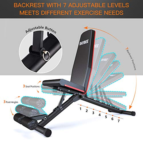 Raybee Weight Bench Adjustable for Home Foldable Workout Bench for Full Body Strength Training Exercise Bench