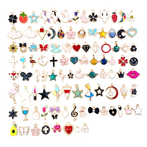 100 pieces charms pendant bulk lots charms cute cartoon jewellery accessories for DIY craft bracelet necklace earring making. - - One Size
