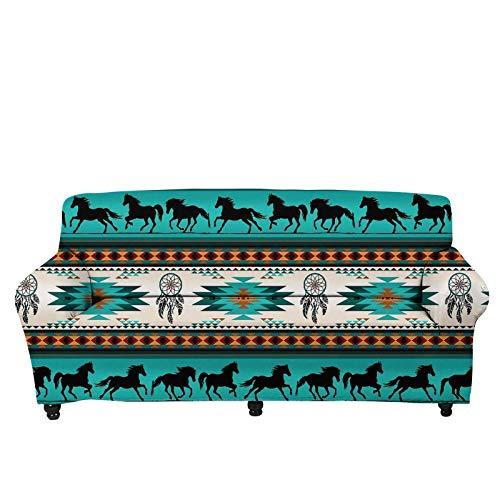 JBNJV Funda de sofá, Funda de sofá Antideslizante Fundas de sofá de 3 Cojines, Fundas de sofá seccionales para el Protector de la Cubierta de Muebles de Sala de Estar, Tema de Caballo Turquesa Nat