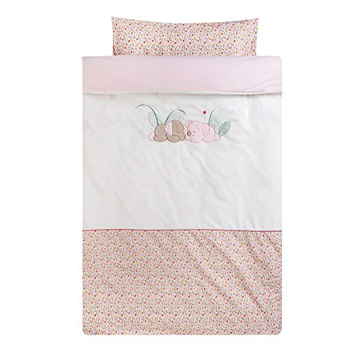 Nattou 631440 – Bedding Set, Duvet Cover 100 x 140 cm and Cushion Cover 40 x 60 cm, Iris and Lali, White/Pink, Girls