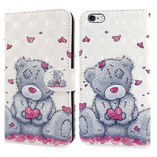 Ailisi Funda iPhone 6 Plus, Funda iPhone 6S Plus, 3D Love Heart Teddy Bear Slim Case Billetera Cuero Carcasa con Ranuras para Tarjetas, Cierre magnético, Soporte y 1 Correa de Mano