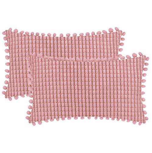 DEZENE Bebé Rosa Fundas de Almohada Decorativas con Pompones - 30x50cm Paquete de 2 Fundas Rectangular de Cojín de Granos de Maíz Grande a Rayas de Pana para Sofá de Granja