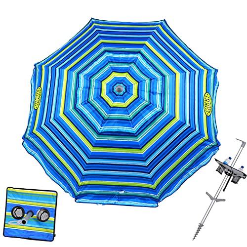 Tommy Bahama 7 ft Fiberglass Beach Umbrella for Sand with Integrated Anchor, Integrated Table, Telescopic Aluminum Pole, UPF 50+, Tilt
