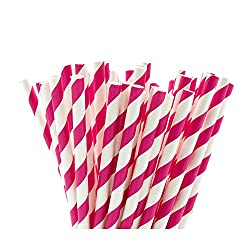Pink & White Striped Paper Straws, 6mm x 195mm. Available in packs of 25 or 100 individual paper drinking straws. 100% biodegradable paper straws made from high quality paper. These straws are printed with waterbed inks in bright and colourful colour...